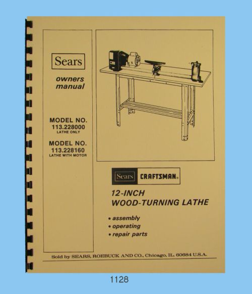 small resolution of sears craftsman 12 wood lathe 113 228000 113 228160 op parts manual 1128 ebay
