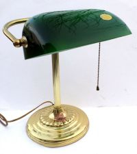 Vintage Brass Bankers Desk Lamp with Green Hand Blown ...