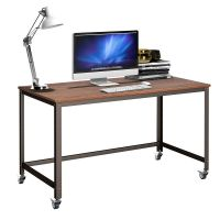 Rolling Computer Desk Metal Frame PC Laptop Table Wood Top ...