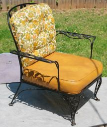 Rare Woodard Lady Patio Chair. 1950' Era Rose Wrought