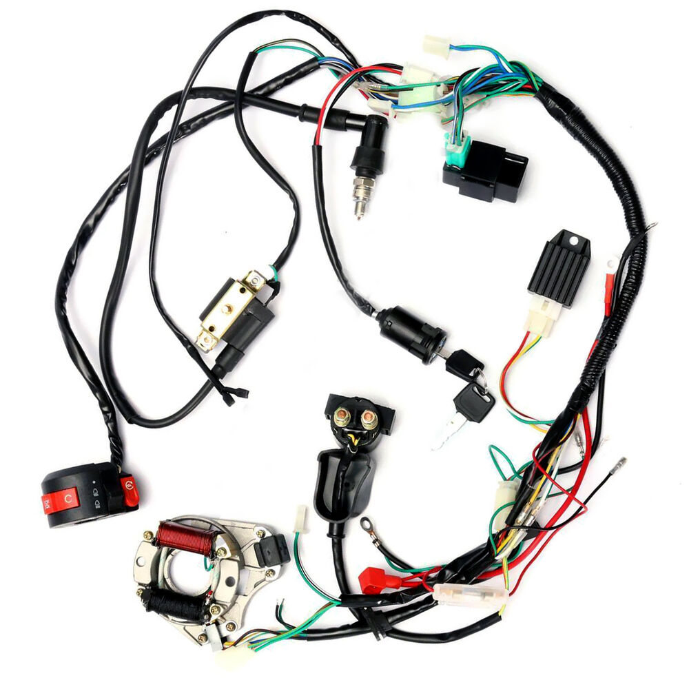 hight resolution of details about zebra electrics atv quad stator coil cdi wiring harness z16b8 50cc 70cc 110cc