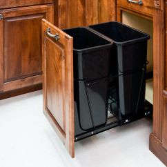 Kitchen Trash Can Pull Out Aqua Utensils Double 35 Quart Black System With 2 Cans And Details About Doorkit