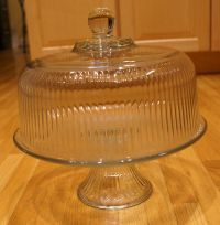 Anchor Hocking Clear Ribbed Glass Pedestal Footed Cake