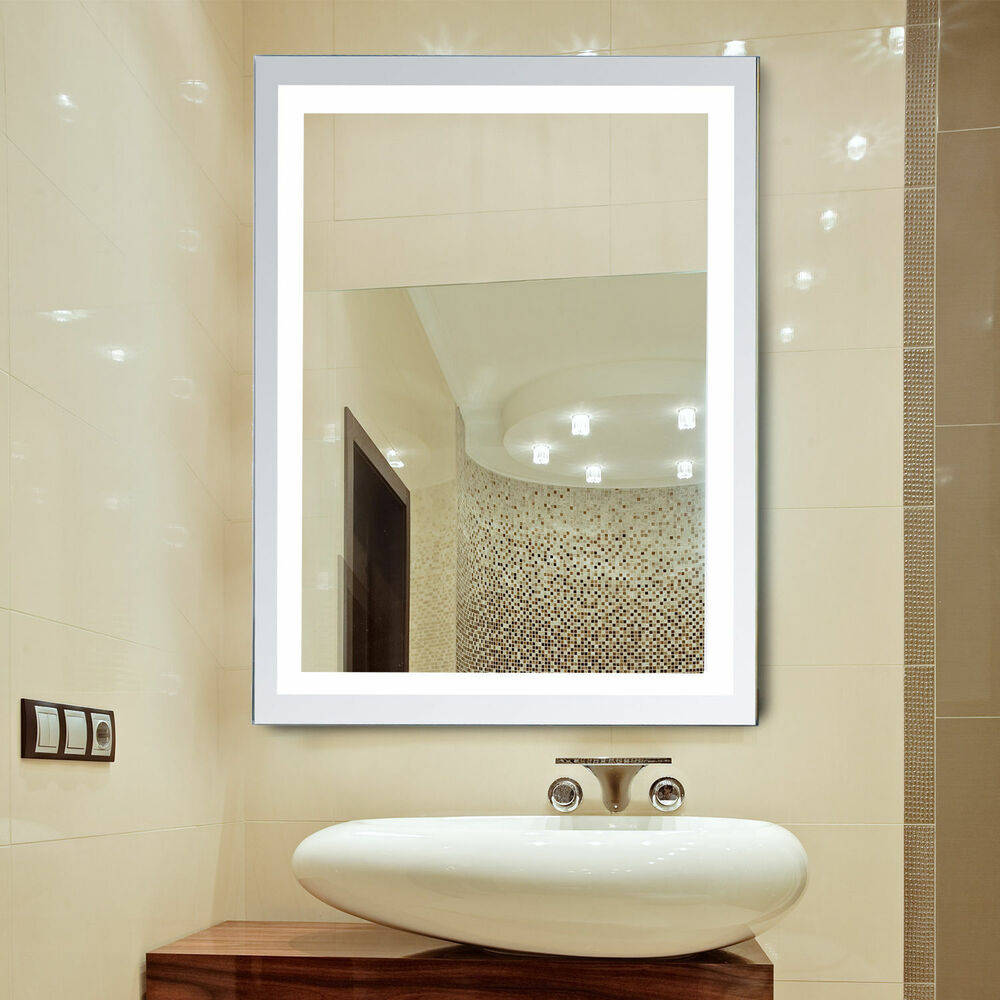 LED Illuminated Backlit Wall Mount Bathroom Vanity Mirror Make Up w Touch Button  eBay