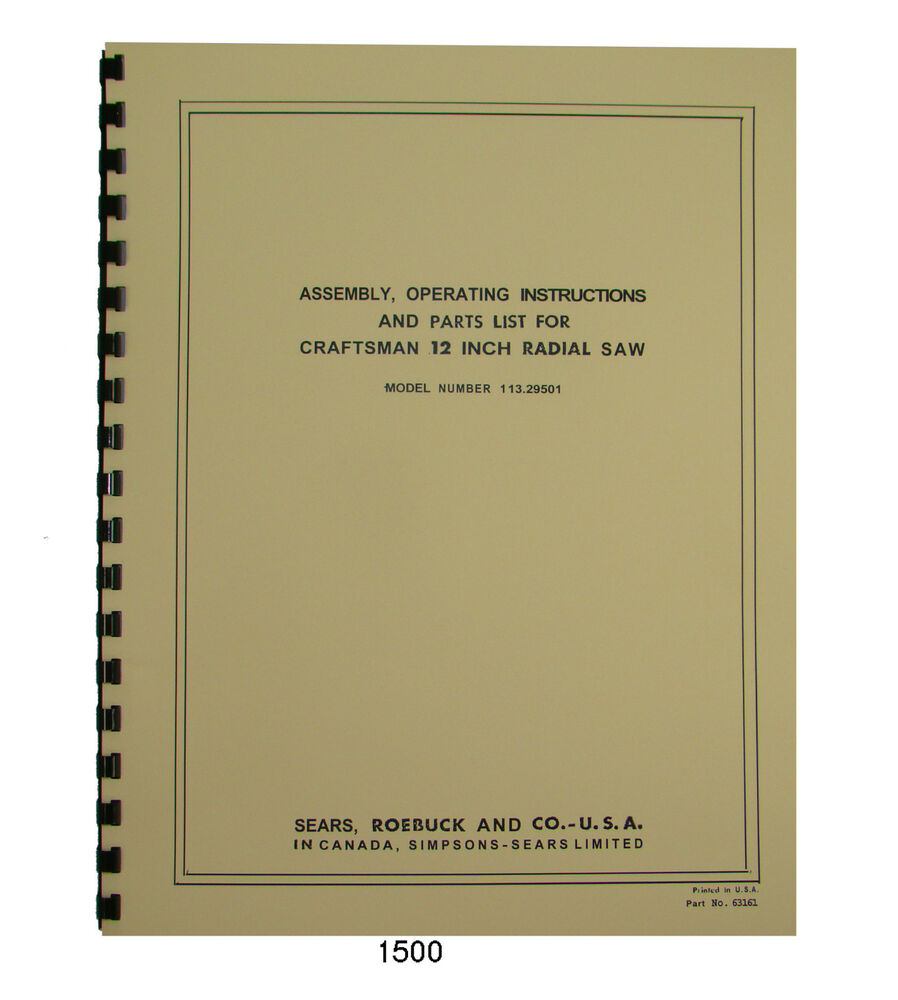 hight resolution of sears craftsman 113 29501 12 inch radial arm saw op parts manual 1500 ebay