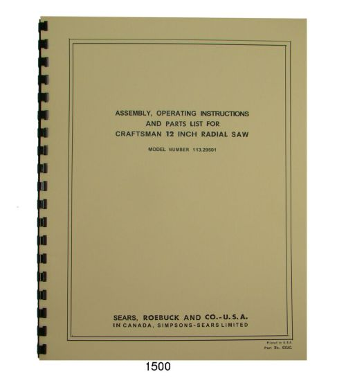 small resolution of sears craftsman 113 29501 12 inch radial arm saw op parts manual 1500 ebay