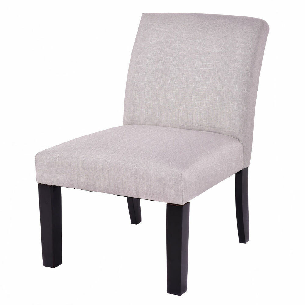 Fabric Wood Armless Slipper Dining Sofa Chair Upholstered
