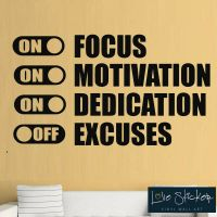 Focus Motivation Dedication Gym Fitness Wall Art Stickers ...