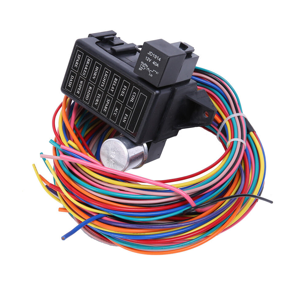 hight resolution of 12 circuit basic wire harness fuse box street hot rat rod wiring car truck 12v