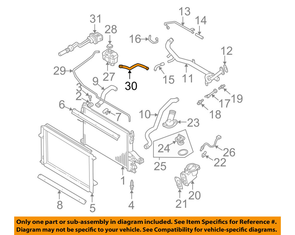 medium resolution of volvo oem 01 09 s60 2 4l l5 radiator overflow hose 30680923 ebay 2003 volvo v70 t5 l5 23 exhaust components diagram