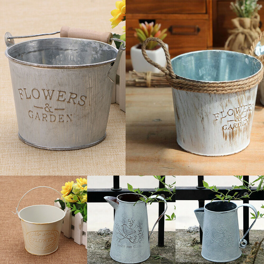 Decoration Jardin Pot Vintage Basket Bucket Planters Pot Metal For Plant And Flower Home Garden Decor Ebay