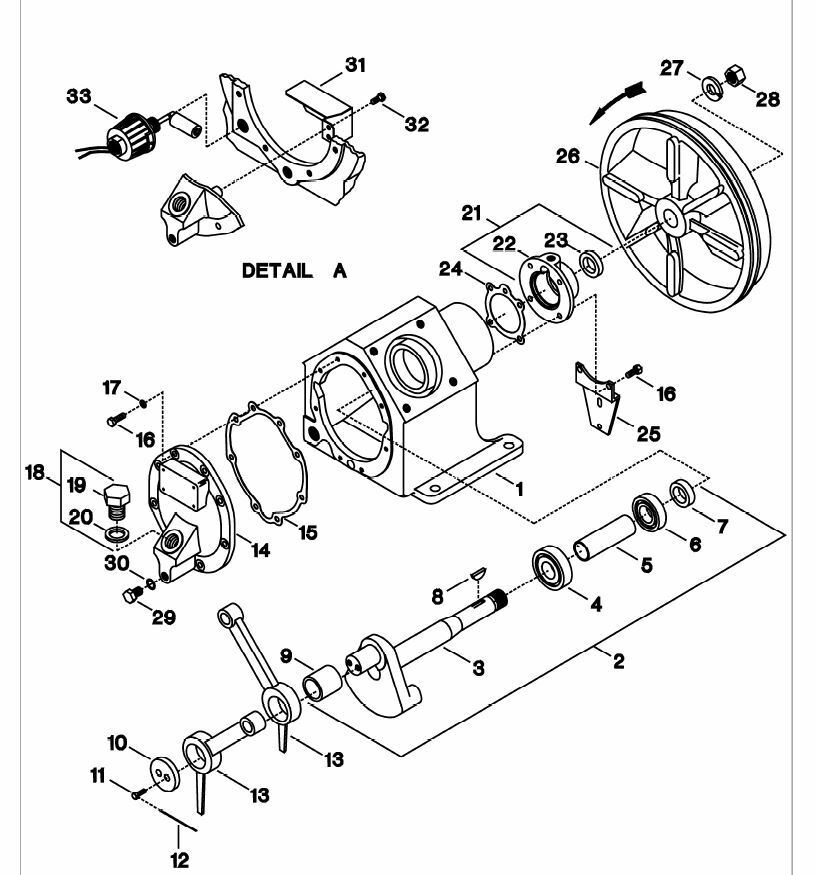 Ingersoll Rand 2475 Crank Shaft Assembly with Bearing