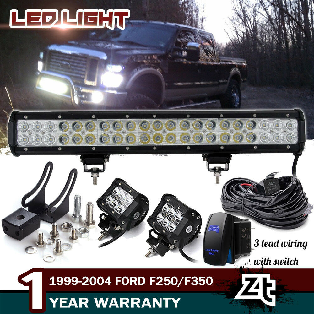hight resolution of details about 20 126w led light bar 1999 04 f250 f350 expedition bull bar bumper grill guard