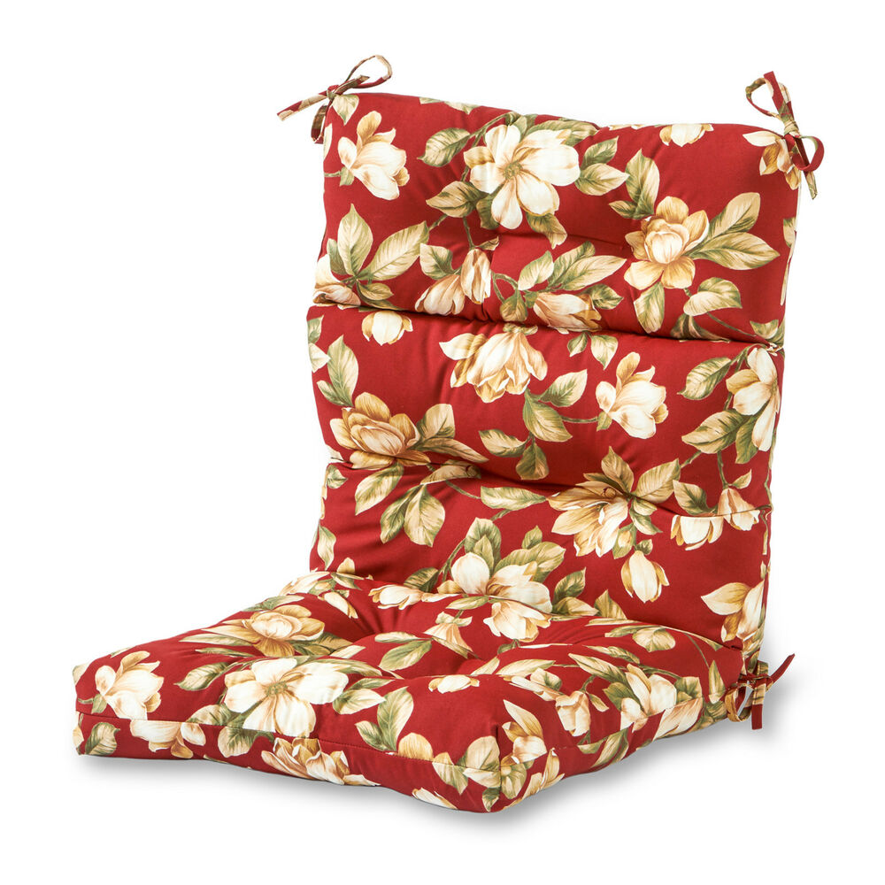 Modern Red Floral Outdoor High Back Chair Cushion Patio