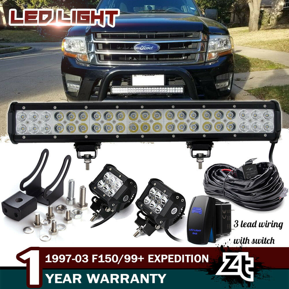 hight resolution of details about 20 126w led light bar 1997 03 f150 1999 expedition bull bar bumper grill guard