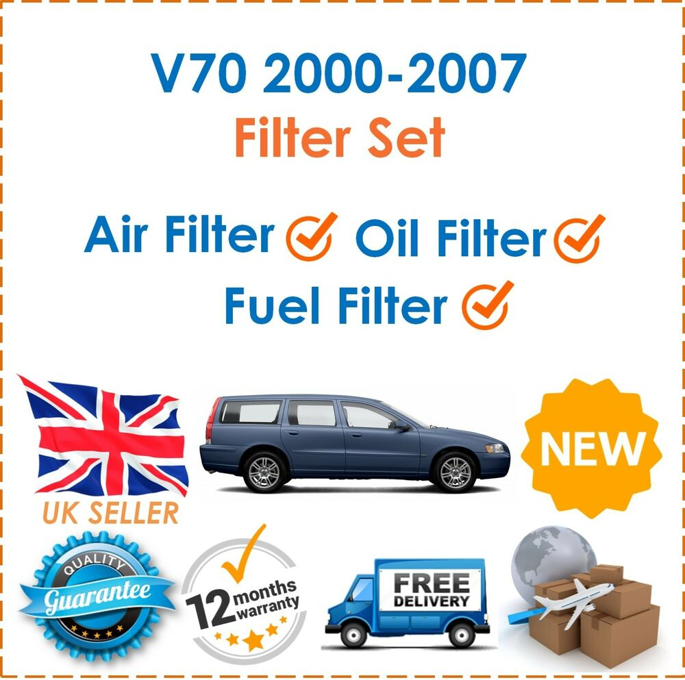 hight resolution of details about for volvo v70 2 4d 9 2000 2007 fuel oil air filters 3 filter service kit new
