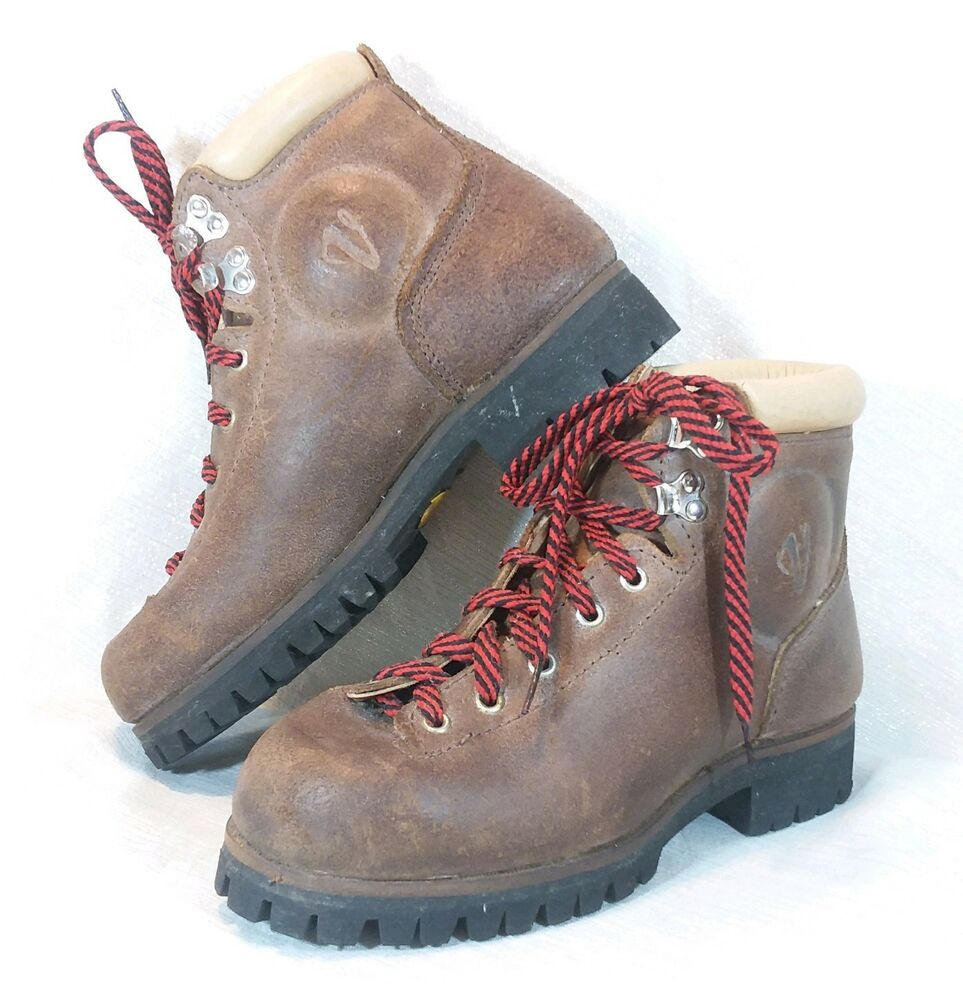 Vasque Retro Boots Vintage Vasque Cowhide Hiking Mountaineering Boots Vibram Sole Womens 7 A Italy Ebay