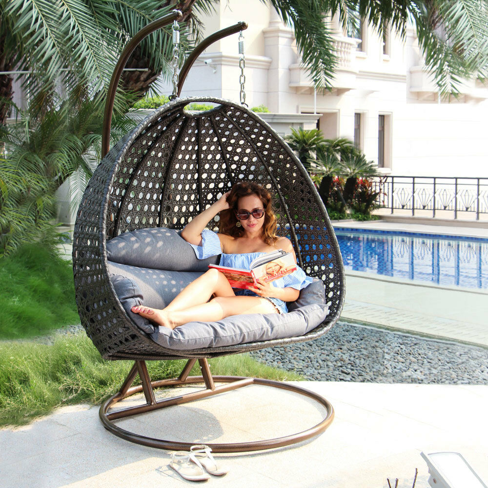 Egg Swing Chairs Island Gale 2person Outdoor Patio Rattan Hanging Wicker Swing Chair Egg Swing Xl 713262096307 Ebay