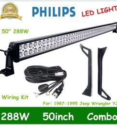 details about 50 288w led combo light bar roof bracket for 1987 1995 jeep wrangler yj wiring [ 1000 x 1000 Pixel ]