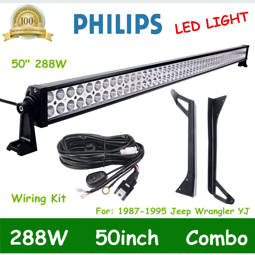 hight resolution of details about 50 288w led combo light bar roof bracket for 1987 1995 jeep wrangler yj wiring