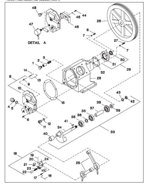 Ingersoll Rand 2545 Crank Shaft Assembly with Bearing