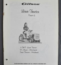 vintage gilson 8hp lawn tractor owners manual 36 mower snow thrower attachment ebay [ 803 x 1000 Pixel ]