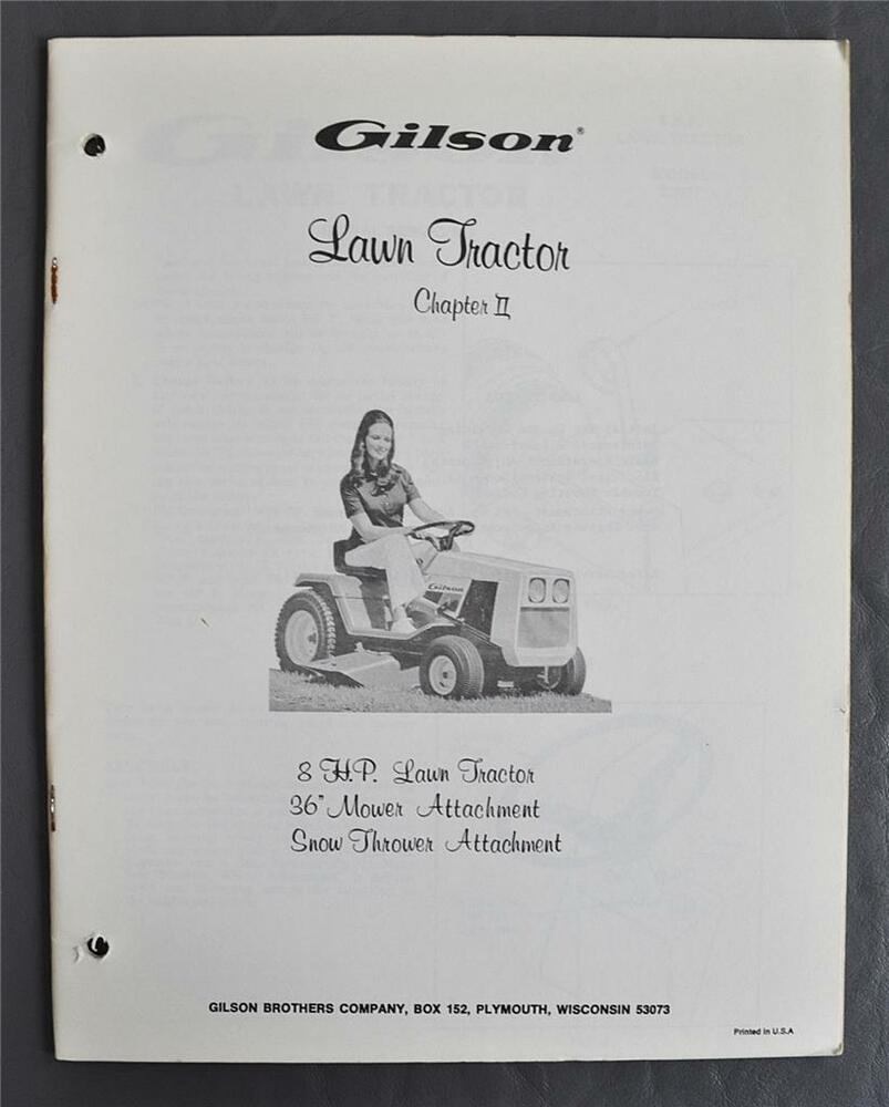 hight resolution of vintage gilson 8hp lawn tractor owners manual 36 mower snow thrower attachment ebay