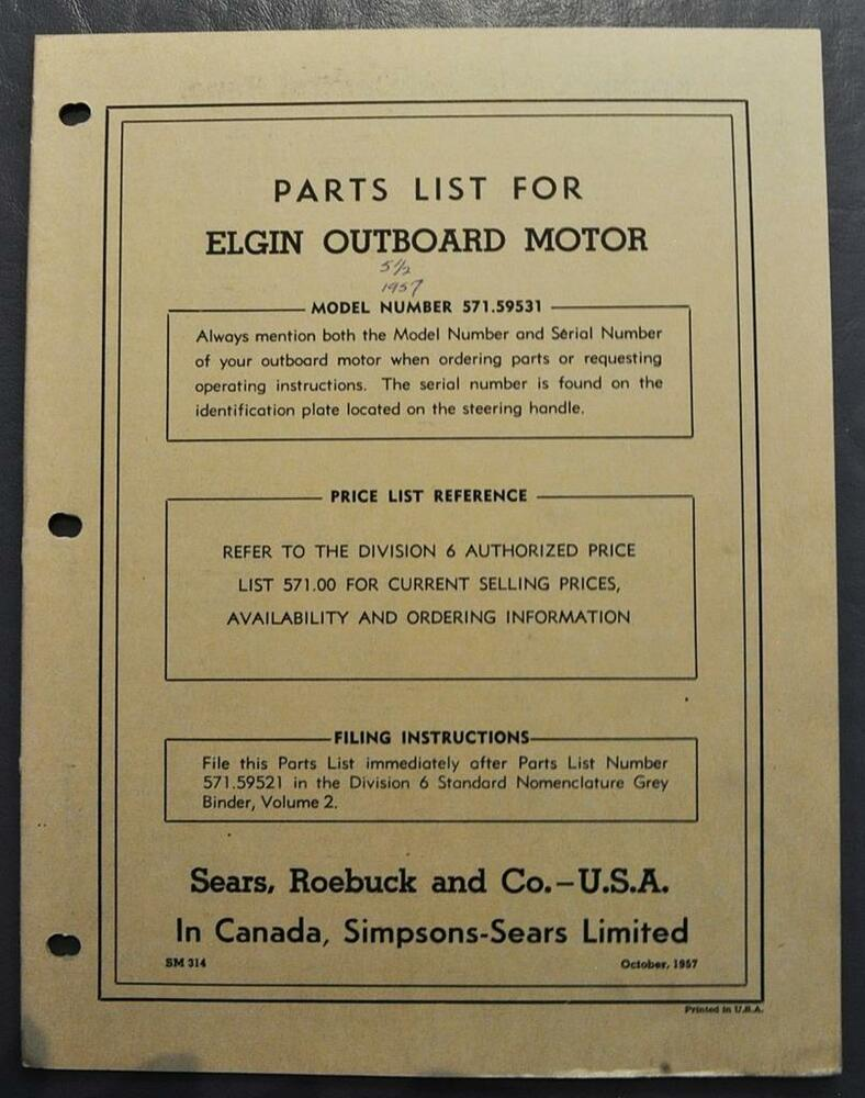 hight resolution of orig 1957 sears 5 5 hp elgin outboard motor parts list model 571 59531 sm 314 ebay