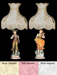 NEW Capodimonte Country Boy & Girl Lamps w/Shades Made in ...