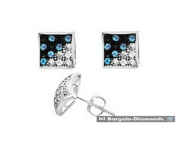 Blue White Diamond .05 Carat Kite Star Stud Earrings