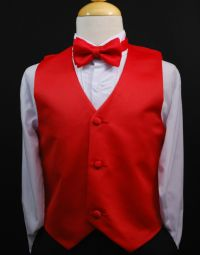 Toddler & Kids RED VEST + BOW TIE / LONG NECK TIE Boys ...