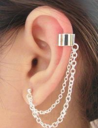 ~ UK Seller ~ A Silver Tone Double Chain Ear Cuff Clip ...