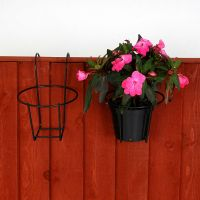 Garden fence metal plant pot holders easy fill black