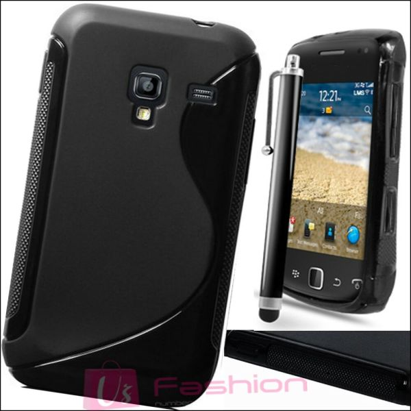 BLACK SLINE SILICONE GRIP GEL CLIP ON CASE COVER SKIN FOR