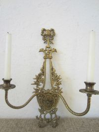 SOLID BRASS DOUBLE CANDLE HANGING WALL SCONCE | eBay
