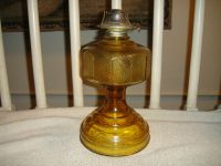 Vintage Amber Color Glass Oil Lamp