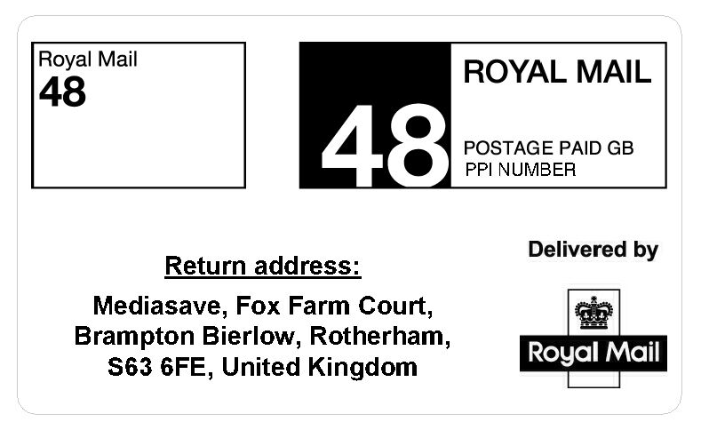 Royal Mail Pre-Printed PPI Labels 24/48 Hour Standard