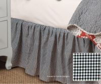 FRENCH COUNTRY BLACK WHITE CHECKS Twin BEDSKIRT : GINGHAM ...