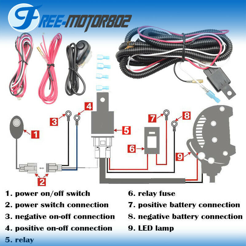 wiring diagram for motorcycle led lights nitrous with transbrake universal light bar fog harness kit 40a 12v switch relay fuse 842961149288 | ebay