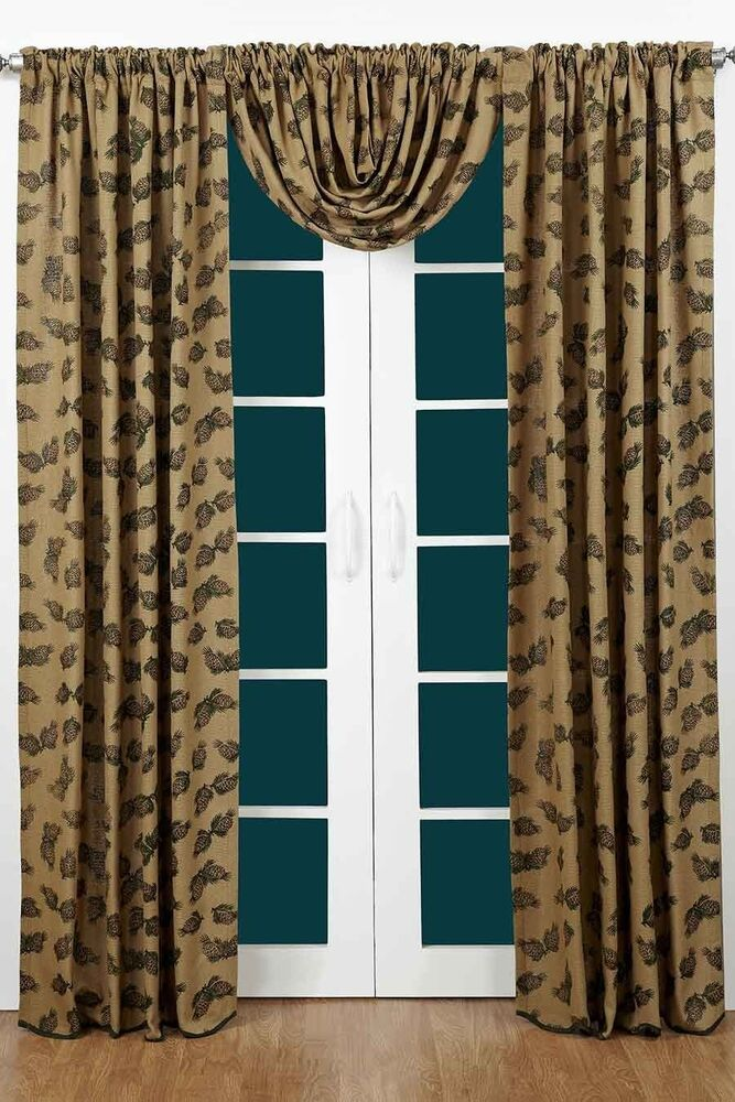 Pine Cone Burlap Curtain Panel Set by Victorian Heart  84