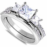 BEAUTIFUL PRINCESS CUT CZ 2 RING BRIDAL SET .925 Sterling ...