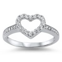FOR HER! WHITE CZ HEART PROMISE LOVE RING .925 Sterling ...