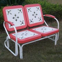 Vintage Style Red And White Metal Glider Double Seat