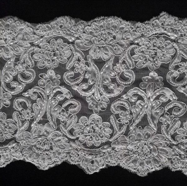 "White Beaded Corded Bridal Lace Trimming 10"" Wide"