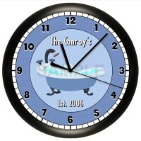 PERSONALIZED BATHTUB BATHROOM WALL CLOCK BLUE HOUSE