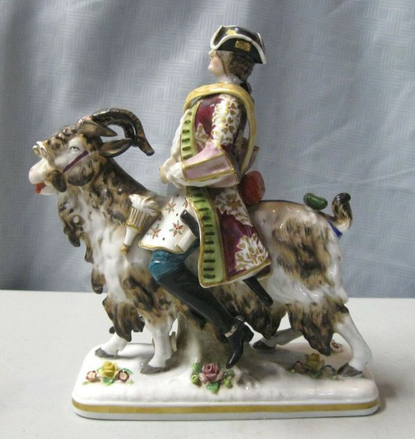 "Sitzendorf Porcelain 8"" Figurine Depicting Man Riding Goat"