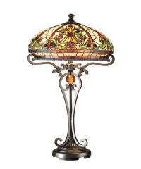 REAL STAINED GLASS TIFFANY STYLE LARGE TABLE LAMP | eBay