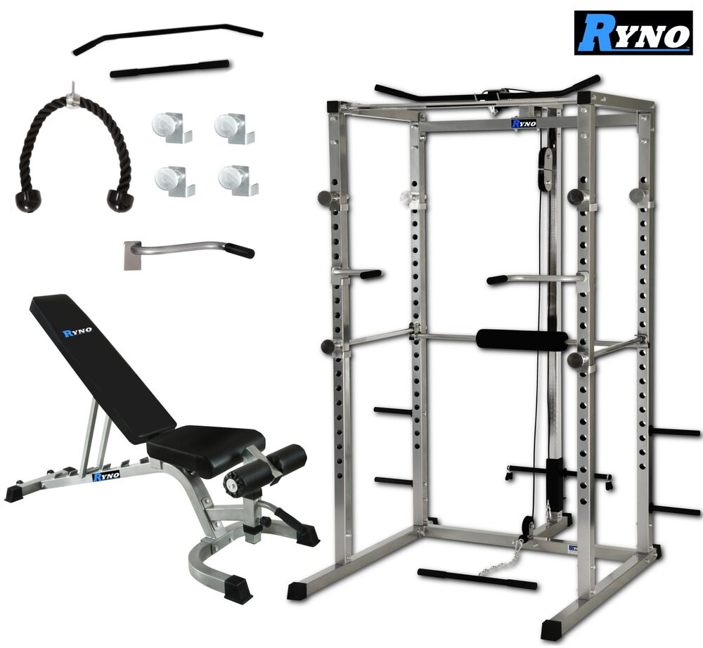 Ryno Power Rack Squat Cage Weight Bench Combo Package