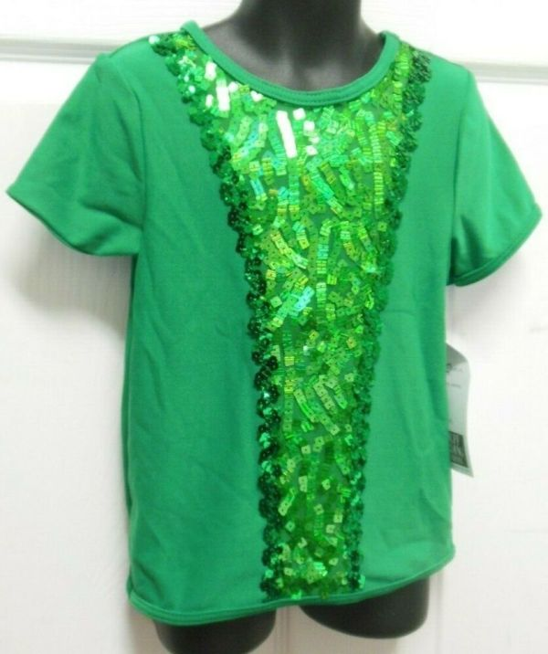 Nwt Sequin T Shirt Unisex Kelly Green Short Sleeve Dance