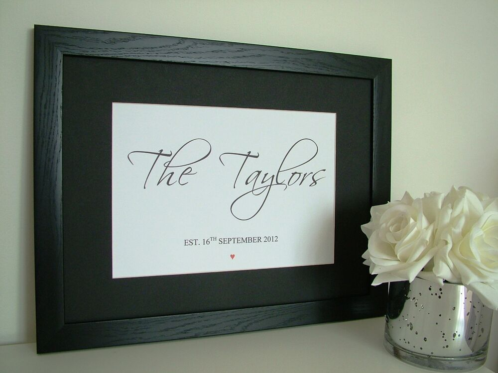 PERSONALISED WEDDING GIFT FAMILY NAME PRINT WITH FRAME